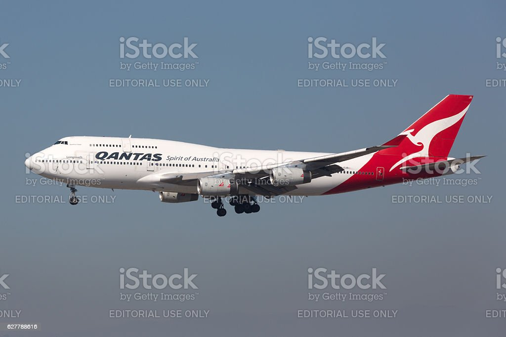 Qantas Boeing 747-400 airplane stock photo