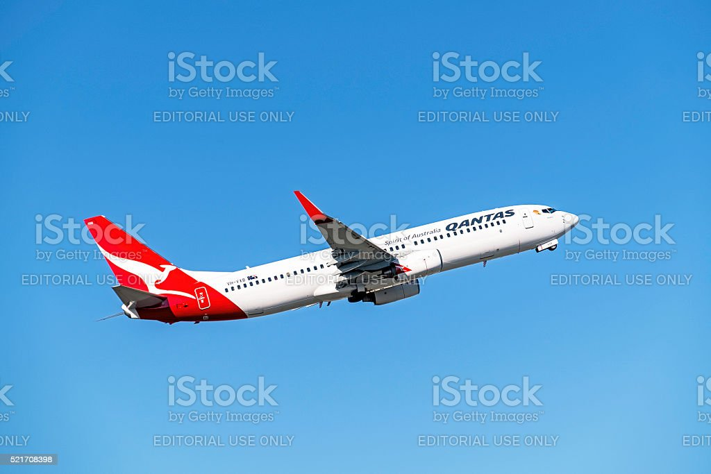 Qantas plane taking-off from Melbourne airport stock photo