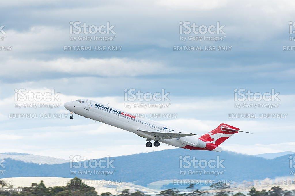 QantasLink Austrália passageiro avião de decolagem. foto royalty-free