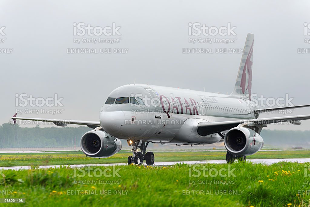 Qatar airlines Airbus A320 taxiing. stock photo