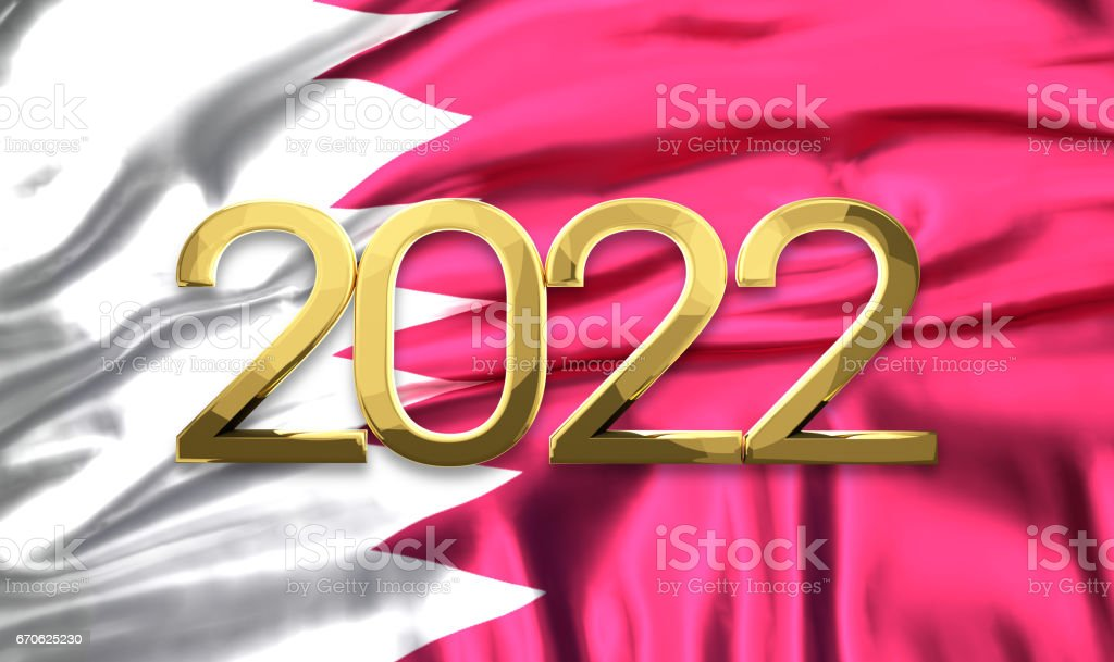 qatar flag with golden 2022 3d rendering stock photo