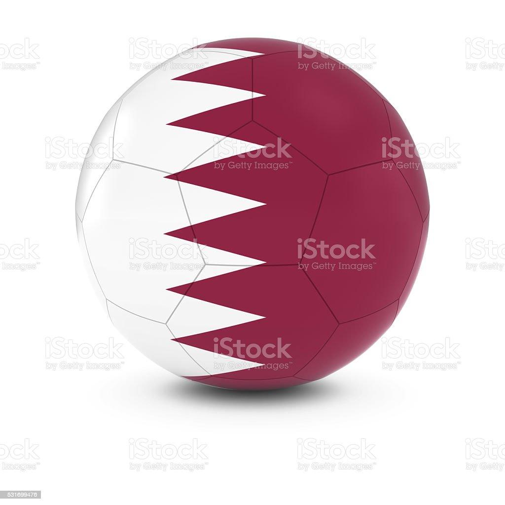 Qatar Football - Qatari Flag on Soccer Ball stock photo