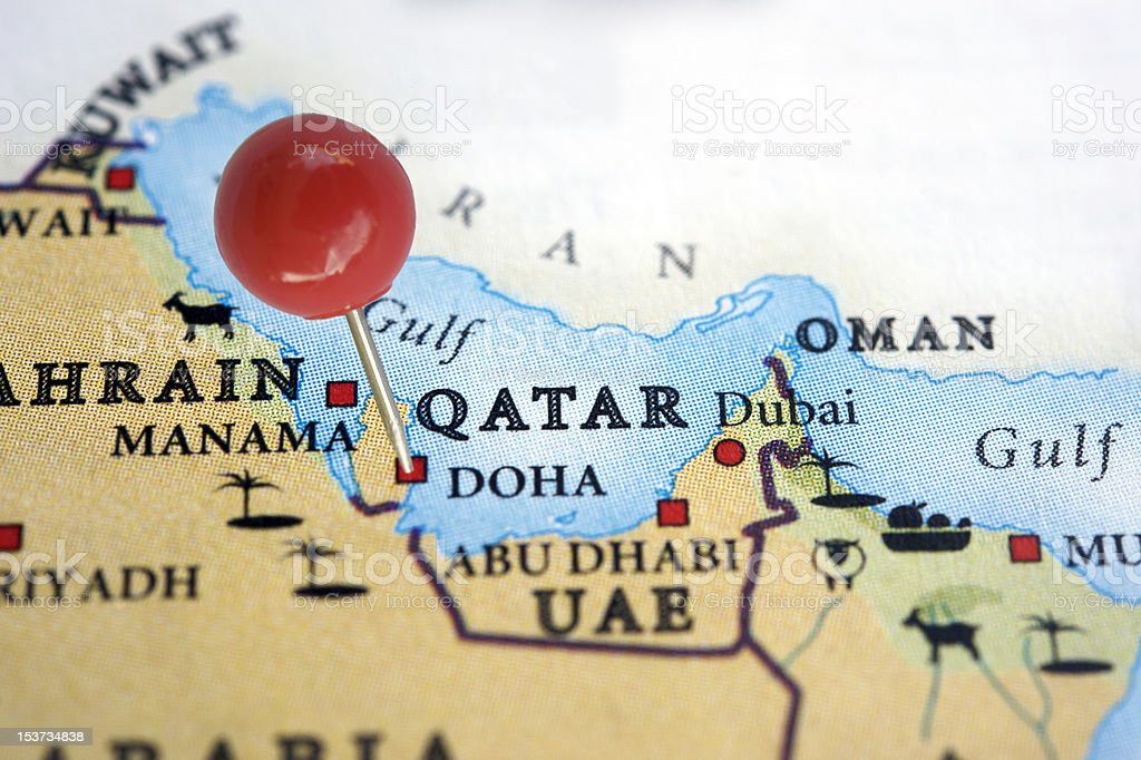 Qatar on a map stock photo