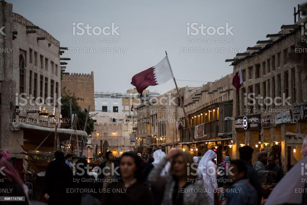 Qatari flag at Souk Waqif in Doha, Qatar stock photo