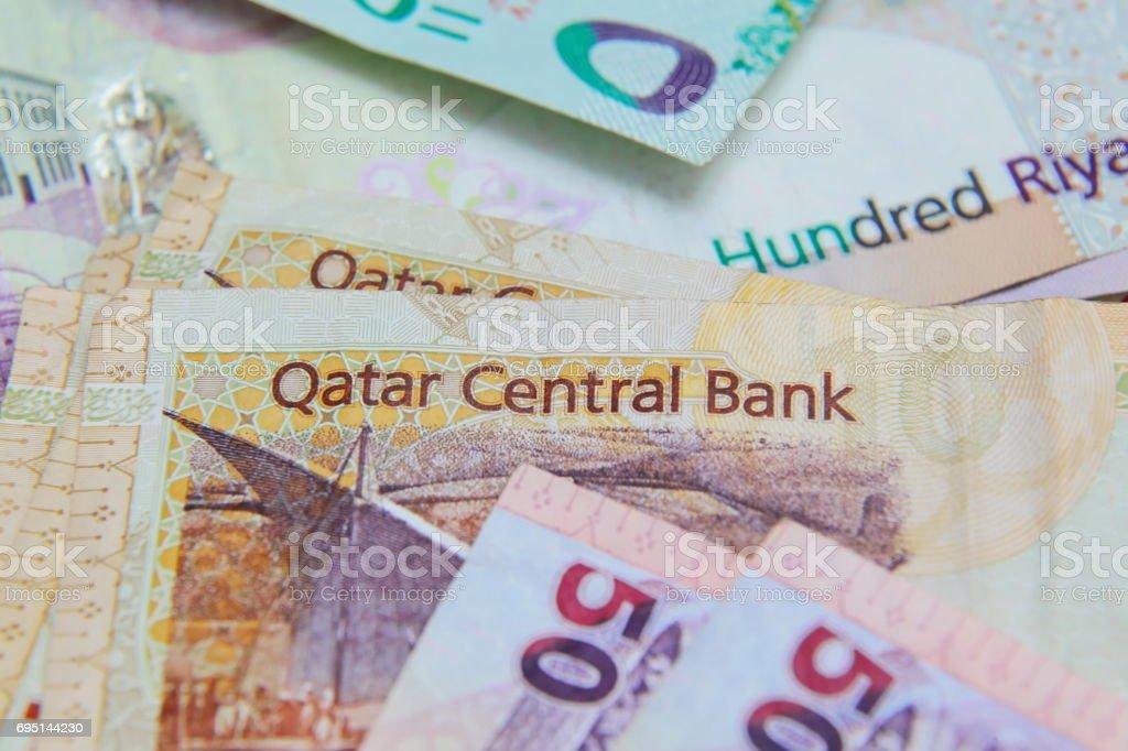 Qatari riyal closeup stock photo