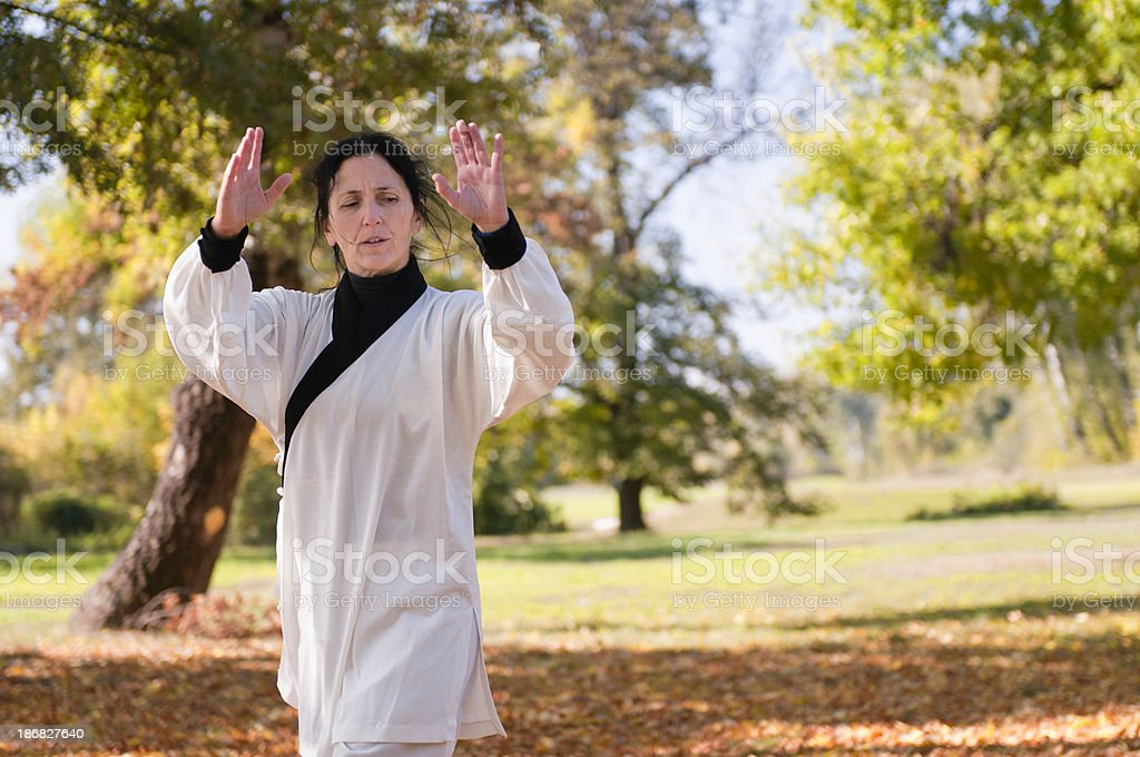 Qi Gong Practice in Park stock photo