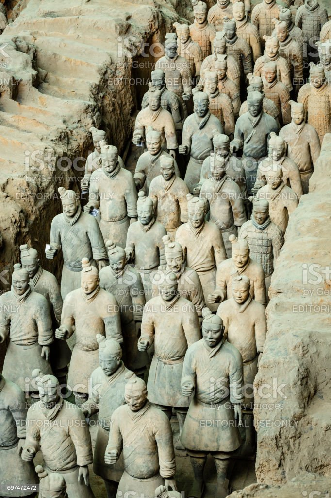 qin shihuang terracotta warriors,Statue,terracotta Soldiers,Xi'an,China - East Asia stock photo