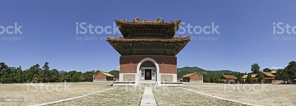 Qing Dynasty pagoda panorama China blue sky stock photo
