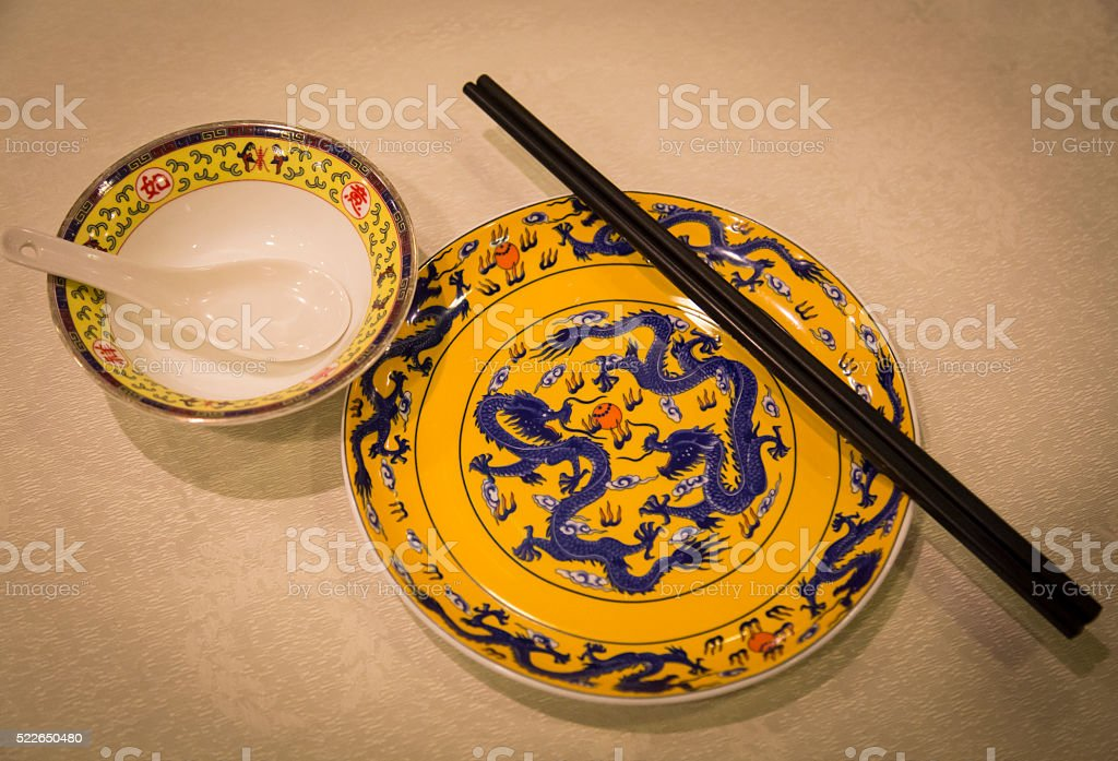 Qing Dynasty royal tableware stock photo