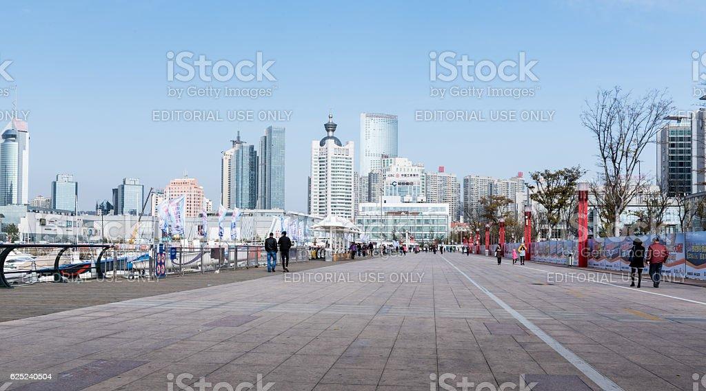 Qingado downtown skyline, China stock photo