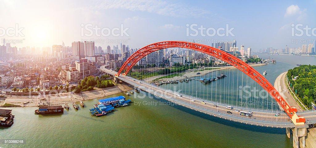 Qingchuan Bridge in wuhan china stock photo