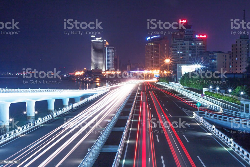 Qingdao at night stock photo