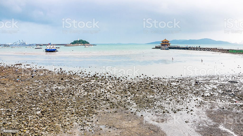 Qingdao bay daytime view from seashore stock photo
