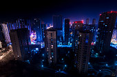 Qingdao city skyscrapers by night