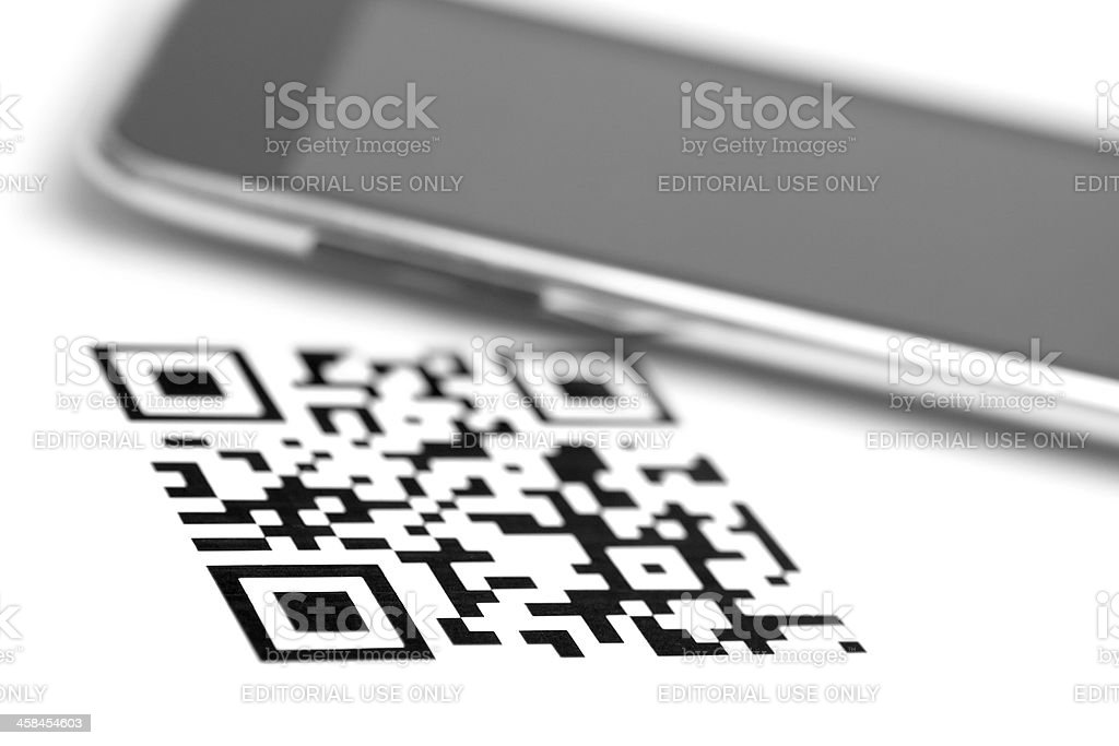 qr code and smartphone stock photo