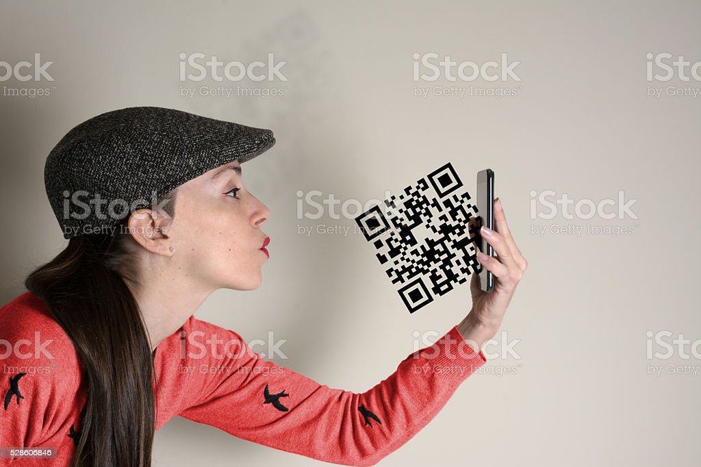 Qr code, woman sends a kiss, the symbol stock photo