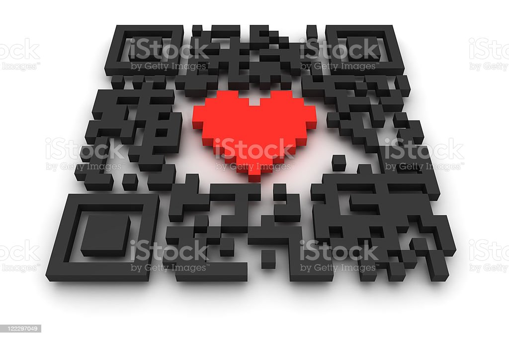 QR-code with heart stock photo