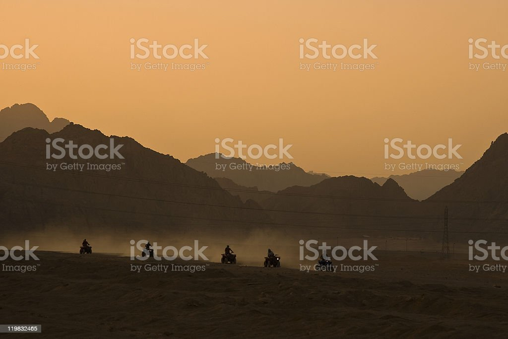 Quad Biking Desert Safari stock photo
