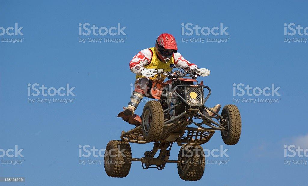 Quadbike jumping really high stock photo