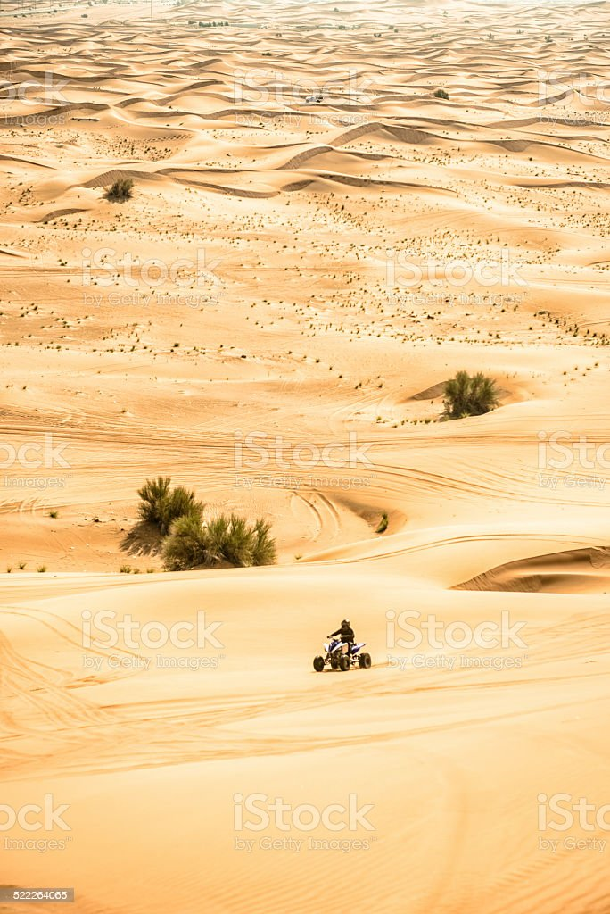 quadbike run on the sahara desert stock photo