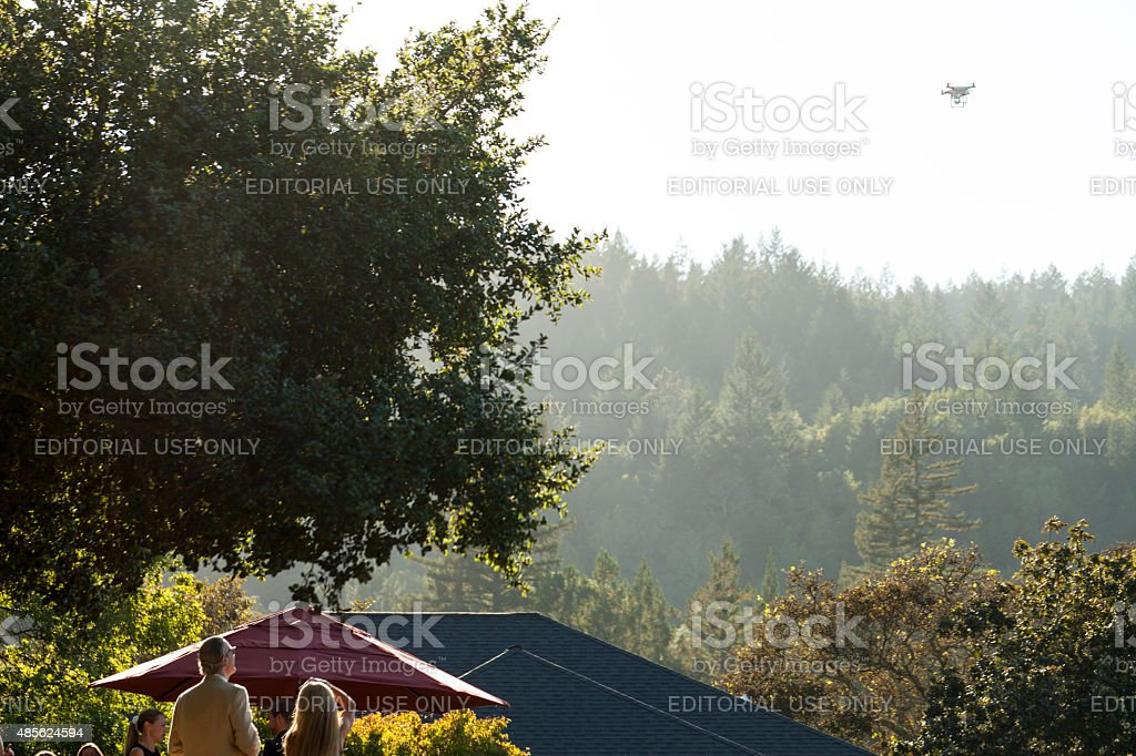 Quadcopter with Camera at Party stock photo