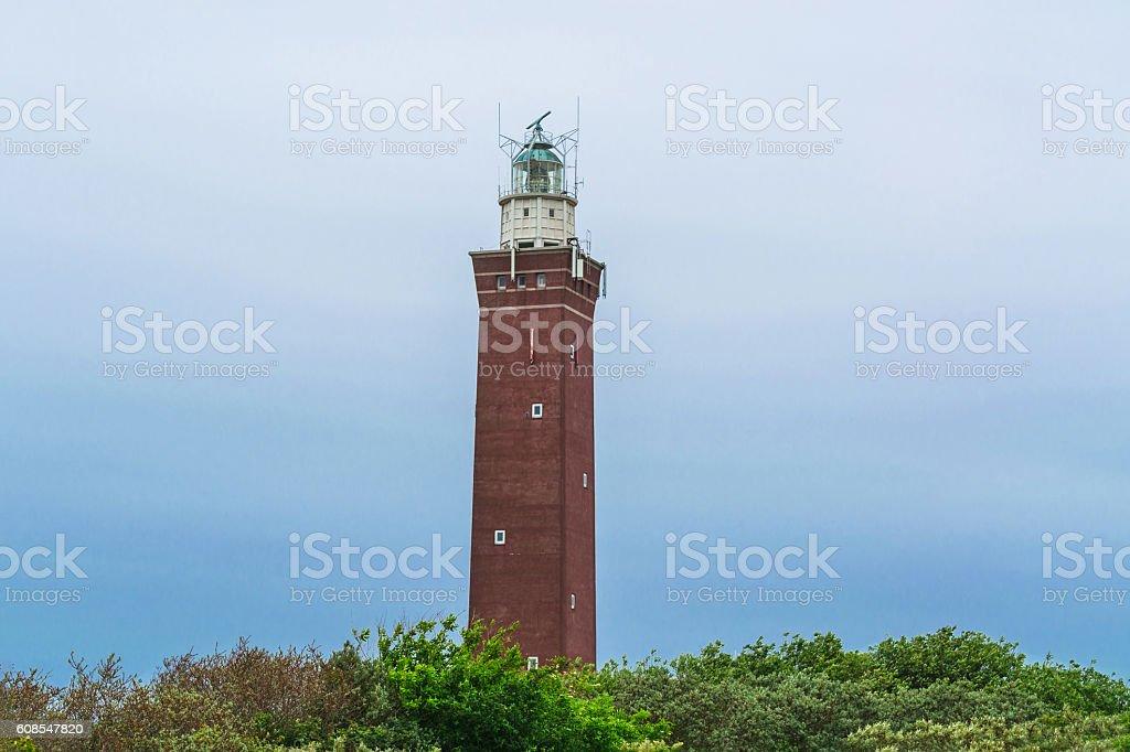 Quadrangular Lighthouse in the dunes stock photo