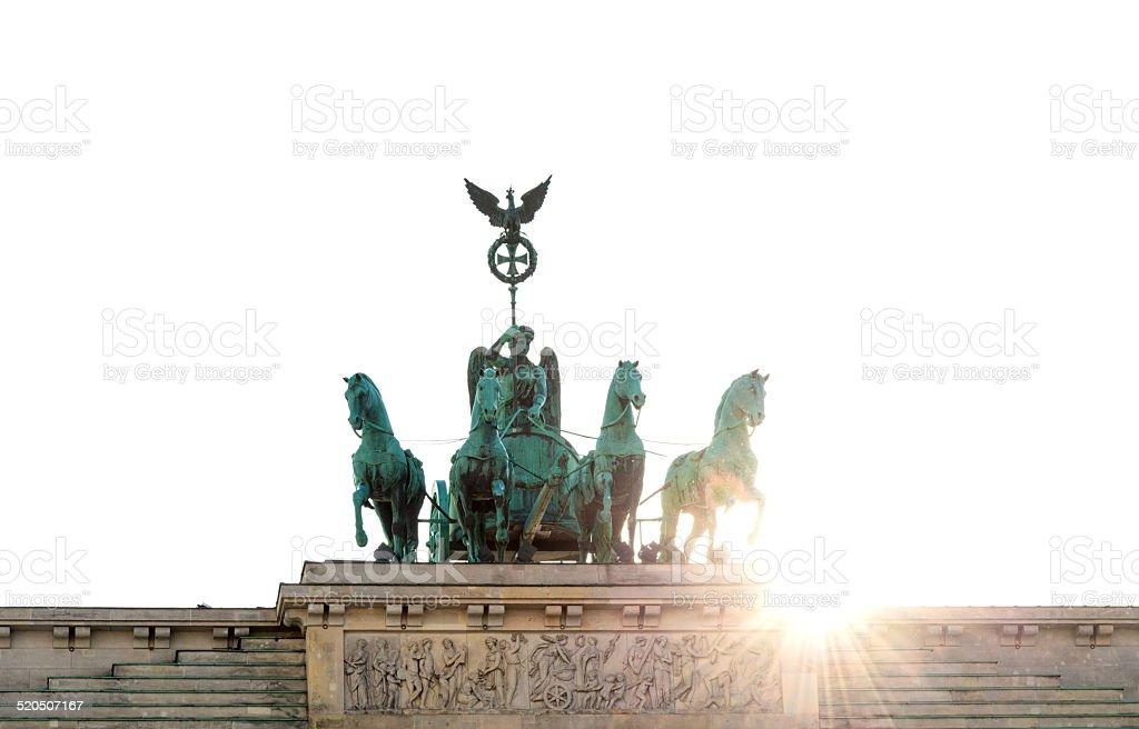 Quadriga at Brandenburger Tor Berlin - isolated on white stock photo