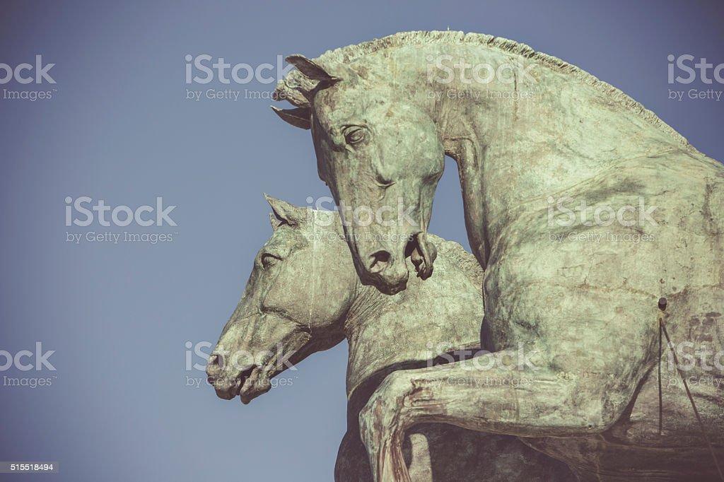 Quadriga dell'Unita on the summit of Vittorio Emanuele Monument stock photo