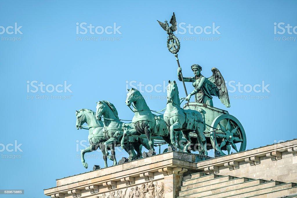 Quadriga on Brandenburg gate in Berlin, Germany stock photo