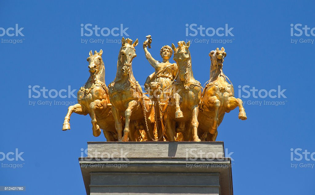 Quadriga Statue in Barcelona stock photo