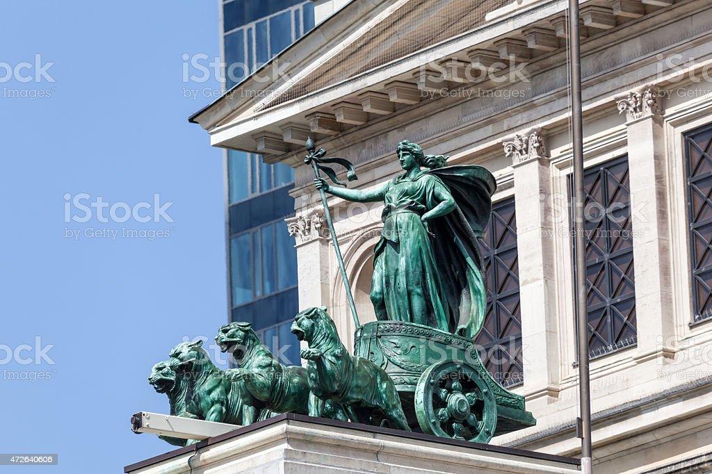 Quadriga statue in Frankfurt Main, Germany stock photo