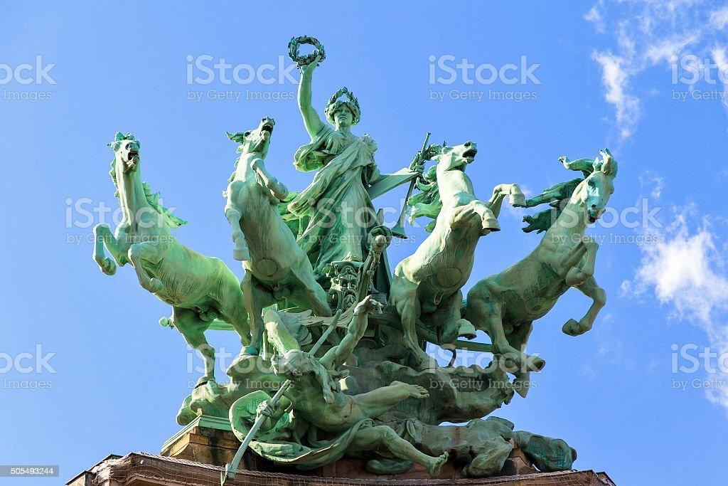 Quadriga statue Paris stock photo
