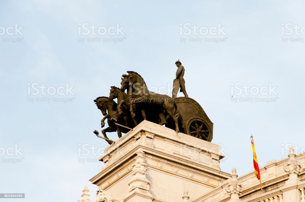 Quadriga Statues - Madrid - Spain stock photo