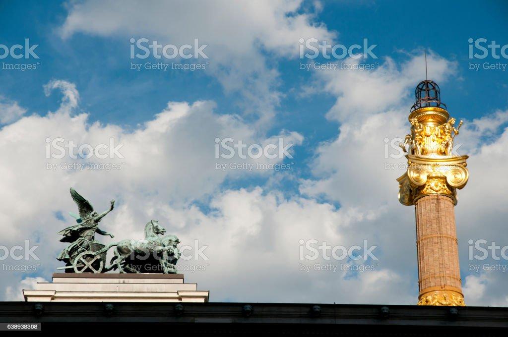 Quadriga Staue on Top of Parliament - Vienna - Austria stock photo