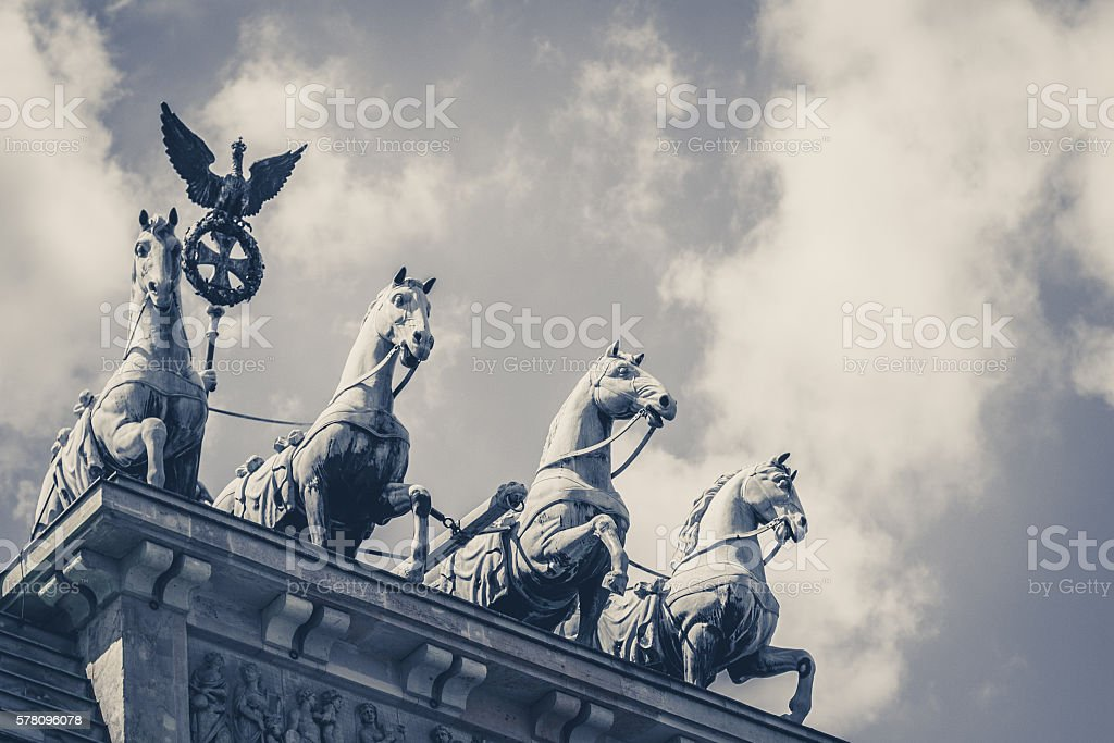 Quadriga - the top of the brandenburg gate in Berlin stock photo