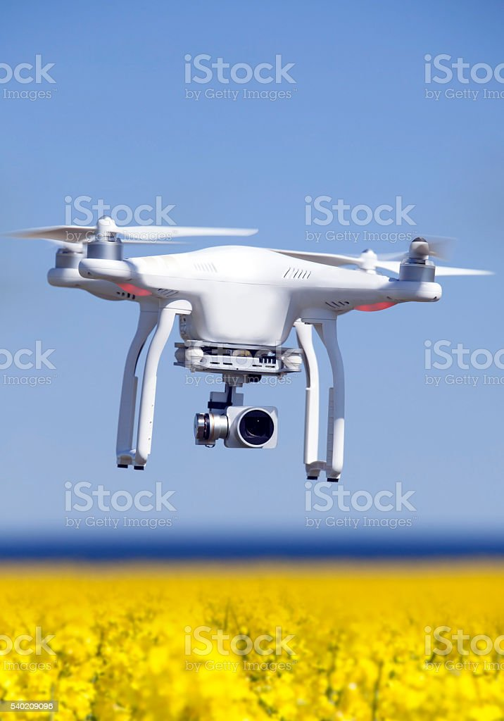Quadrocopter, copter, drone in action stock photo
