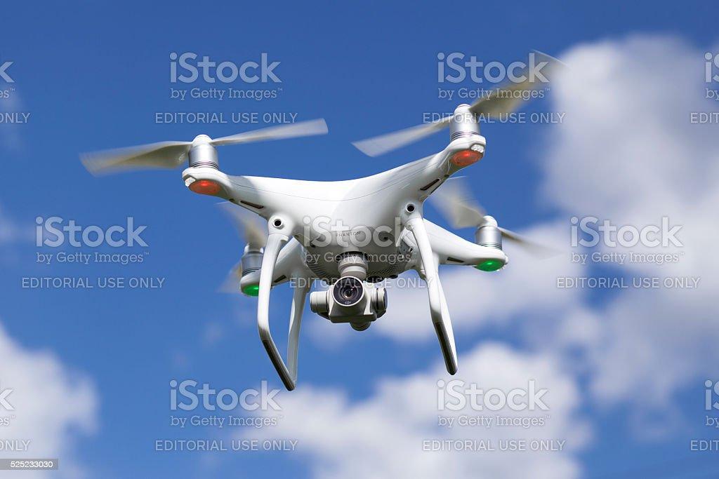 Quadrocopter drone Phantom 4 of DJ Innovations stock photo
