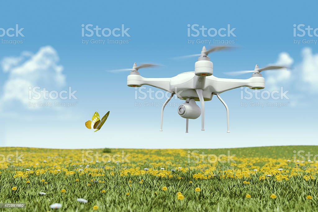 Quadrocopter drone with a camera filming a butterfly stock photo