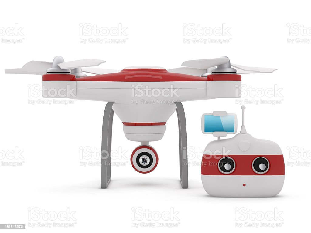 Quadrocopter drone with the camera and Radio remote controller w stock photo