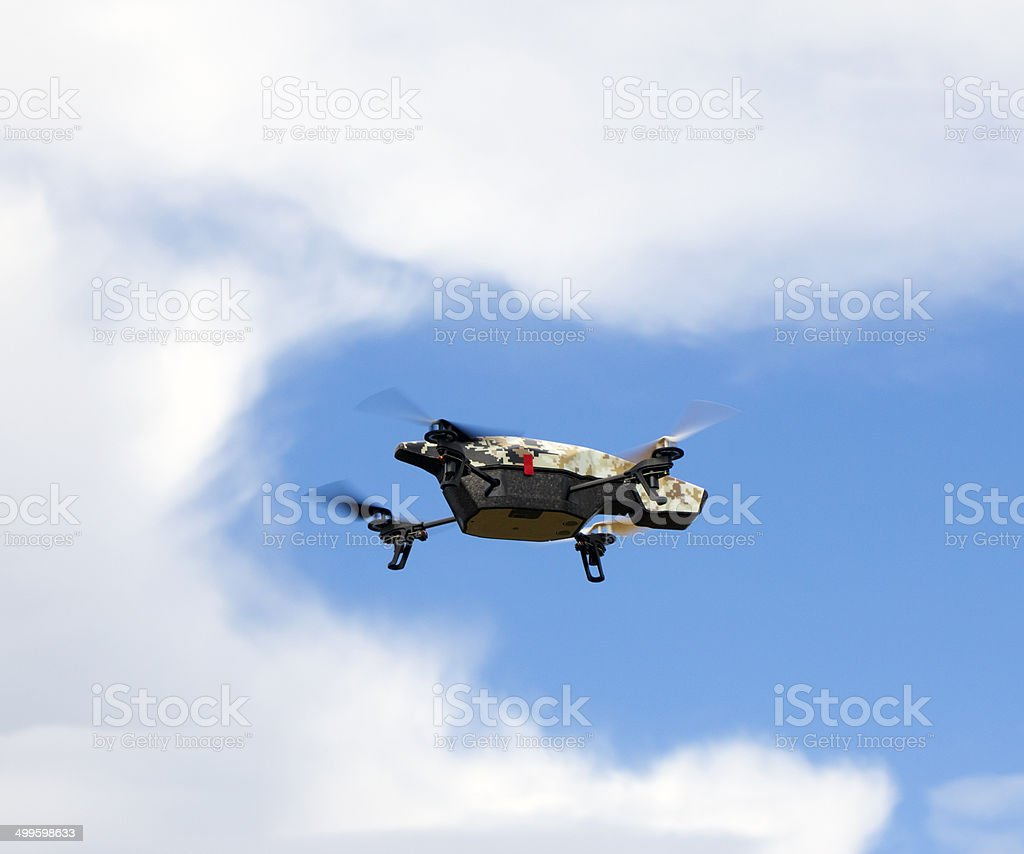 Quadrocopter with camera stock photo