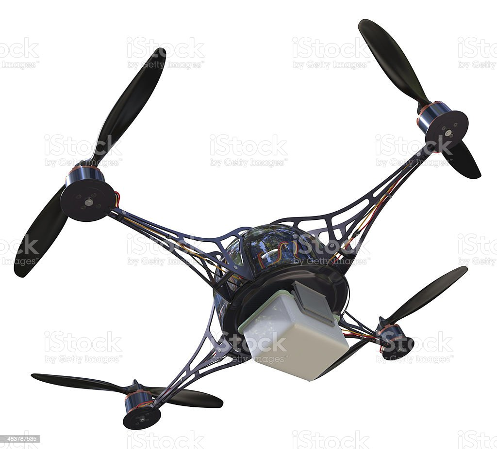 Quadrocopter with plastic container stock photo