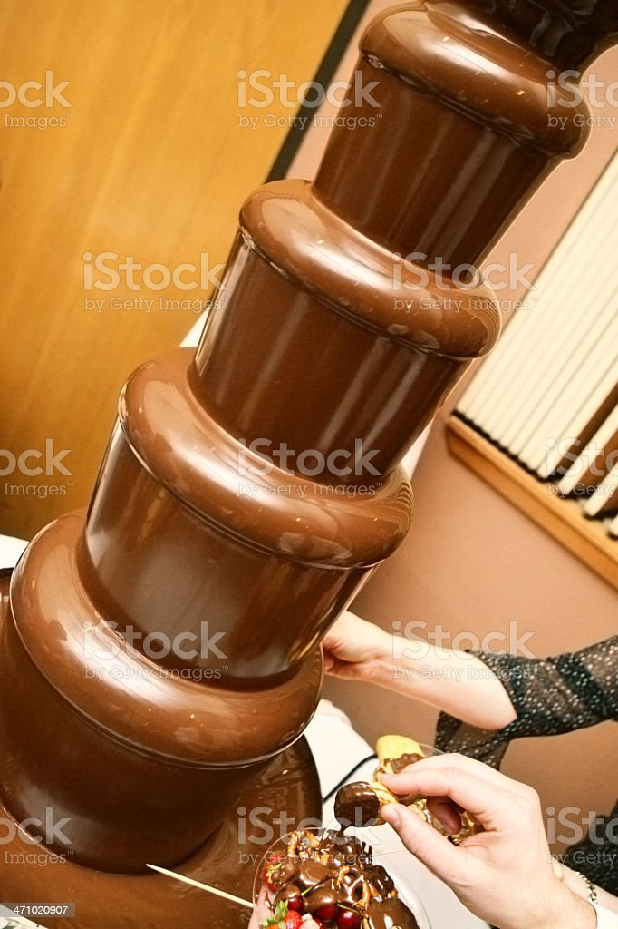 Quadruple Chocolate Fondue Fountain royalty-free stock photo