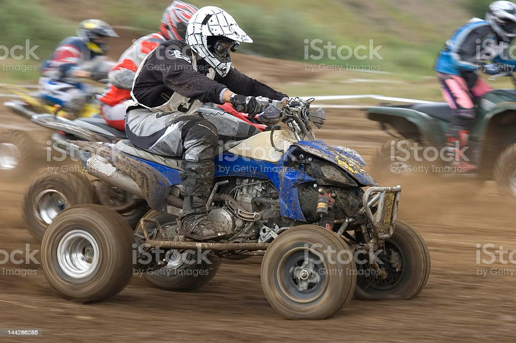 Quads after start. stock photo