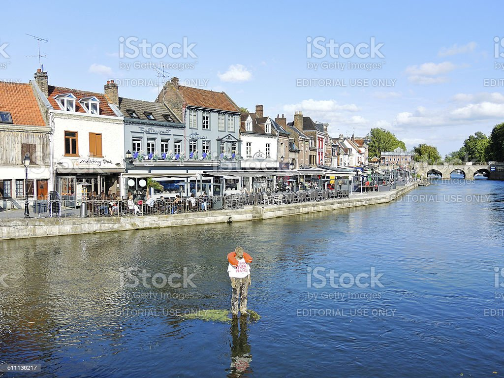 Quai Belu on Somme river in Amiens city stock photo