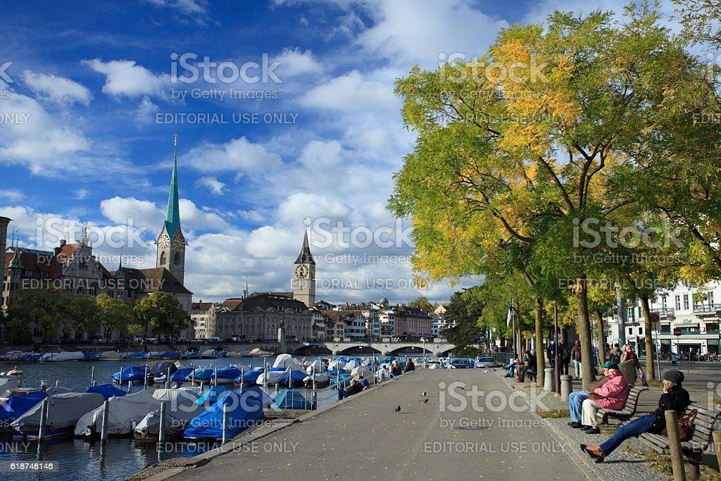 Quaianalagen, Zurich stock photo