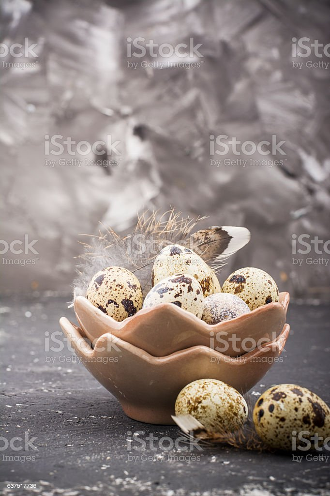 Quail eggs in the design of ceramic bowls in the stock photo