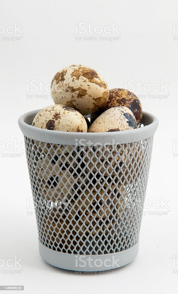 Quail Eggs in Wire Basket royalty-free stock photo