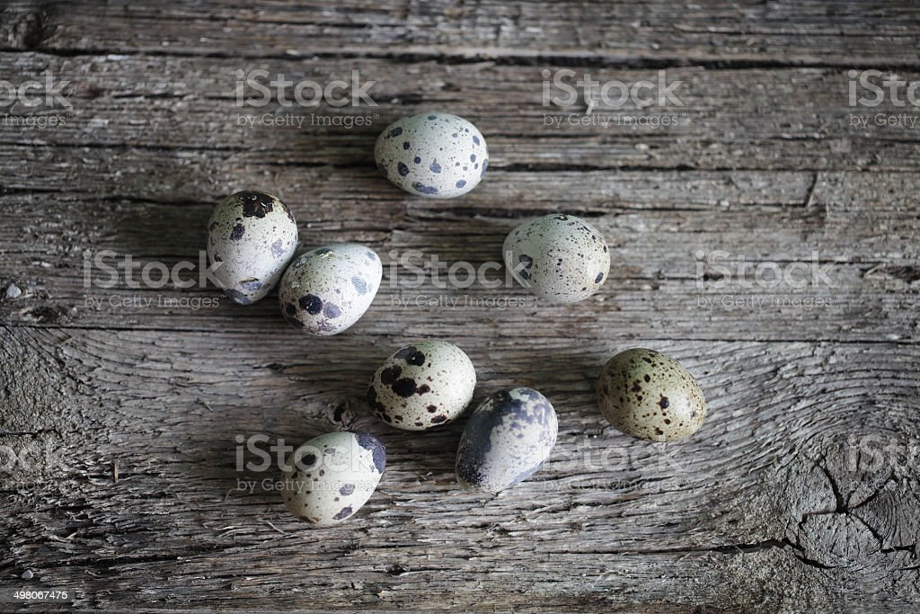Quail eggs, whole on the wooden, rustic desk stock photo