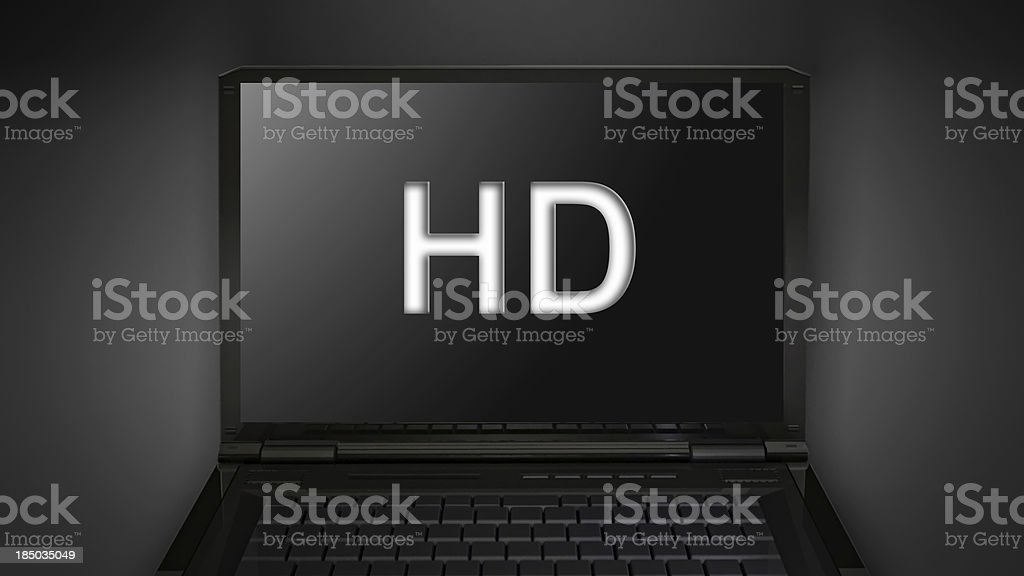 HD quailty theme is display on laptop screen stock photo