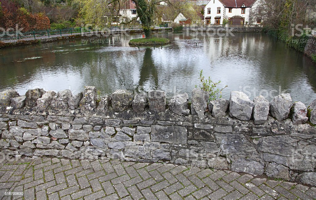 quaint duck pond,Cheddar Gorge,Somerset stock photo